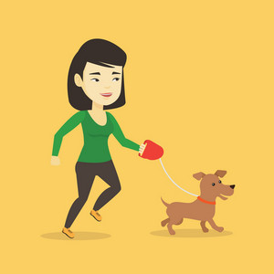 Asian young woman with her dog. Cheerful woman walking with her small dog. Happy woman taking dog on a walk. Smiling woman walking a dog on a leash. Vector flat design illustration. Square layout.