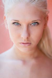 Attractive blonde teen face portrait