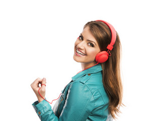 Attractive girl with headphones on white background