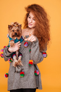 Attractive young red hair woman carrying yorkshire terrier and smiling while standing isolated on orange background