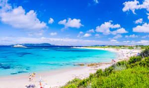Azure sea at Porto Pollo beach on beautiful Sardinia island near Porto Pollo, Sargedna, Italy