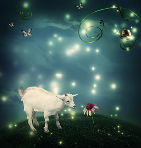 Baby goat in a fantasy hilltop landscape with a snail and butterflies