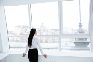 Back view of Business woman standing near the window in office
