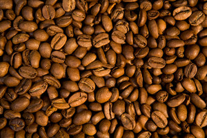 Background of black roasted coffee beans