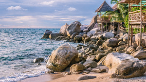 Bamboo hut over sea on Sunset, Koh Tao, Samui, Thailand