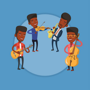 Band of musicians playing on musical instruments. Group of young african-american musicians performing with musical instruments. Vector flat design illustration in the circle isolated on background.