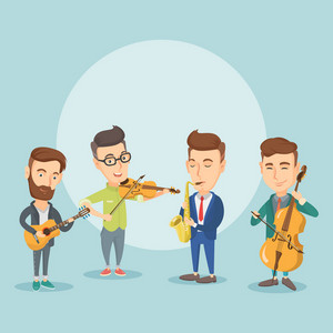 Band of musicians playing on musical instruments. Group of young musicians playing on musical instruments. Band of musicians performing with instruments. Vector flat design illustration. Square layout