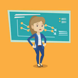 Bankrupt business woman showing her empty pockets on the background of decreasing chart. Bankrupt turning empty pockets inside out. Bankruptcy concept. Vector flat design illustration. Square layout.