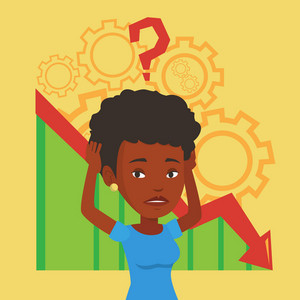 Bankrupt clutching head on the background of cogwheels and chart going down. Bankrupt with big question mark above her head. Business bankruptcy concept. Vector flat design illustration. Square layout
