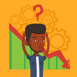 Bankrupt clutching head on the background of cogwheels and chart going down. Bankrupt with big question mark above his head. Business bankruptcy concept. Vector flat design illustration. Square layout