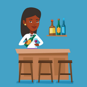 Bartender standing at the bar counter. Bartender with bottle and glass in hands. African-american bartender at work. Vector flat design illustration. Square layout.