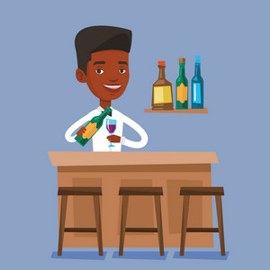 Bartender standing at the bar counter. Bartender with bottle and glass in hands. An african man bartender at work. Vector flat design illustration. Square layout.