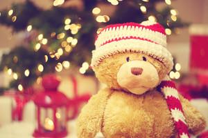 Bear wearing Santa hat with Christmas gift boxes at night