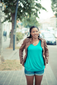 beautiful african young woman in the city