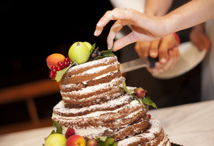 Beautiful and tasty cake at wedding reception