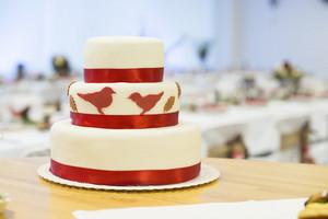 Beautiful and tasty wedding cake at wedding reception