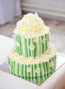 Beautiful and tasty wedding cake at wedding reception