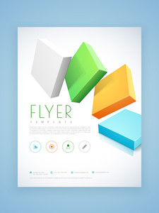 Beautiful business flyer, brochure or template layout with colorful 3D blocks.