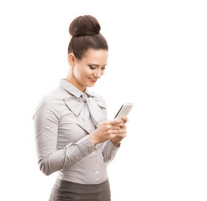 Beautiful business woman with smartphone isolated over white background.