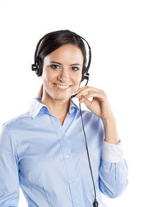 Beautiful call center young woman ready for support and contact