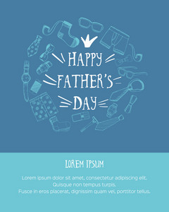 Beautiful Fathers day greeting with various objects.  Vector illustration.