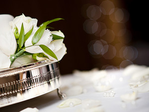 Beautiful floral wedding table decoration at wedding reception