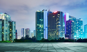 beautiful night view of modern buildings in kuala lumpur with empty floor