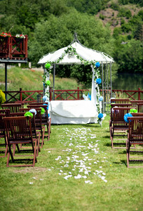 Beautiful outdoor wedding venue in summer