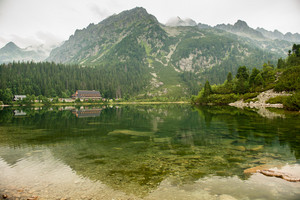 Beautiful scenery of high mountain with lake and high peak. High Tatras Slovakia