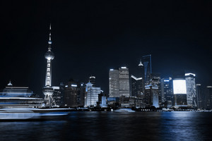 Beautiful Shanghai Pudong skyline at night