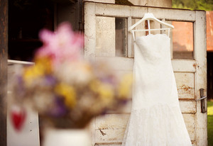 Beautiful white weddding dress ready for bride