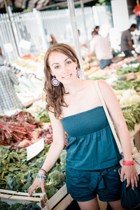 beautiful woman at the market shopping