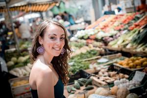 beautiful woman at the market shopping