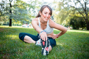 beautiful woman fitness in the park
