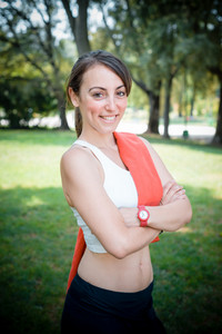 beautiful woman fitness positive at the park