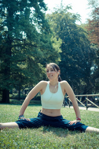 beautiful woman fitness running at the park