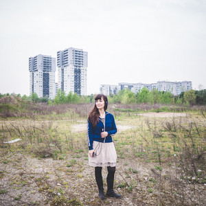 beautiful woman in a desolate lurban landscape