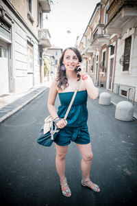 beautiful woman on the phone in the city