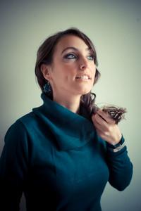 beautiful woman with turtleneck autumn on white background
