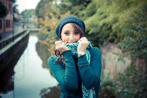 beautiful woman with turtleneck in the city autumn