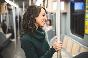 beautiful woman with turtleneck on underground in autumn