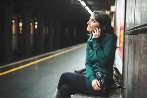 beautiful woman with turtleneck on underground in autumn
