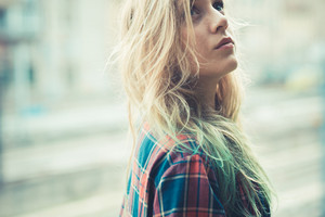 beautiful young blonde hair woman hipster in the city