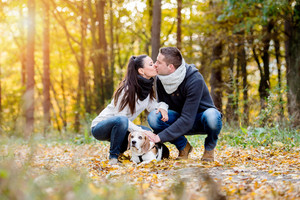 Beautiful young couple walking a dog in colorful sunny autumn forest, crouching, kissing
