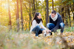 Beautiful young couple walking a dog in colorful sunny autumn forest, crouching