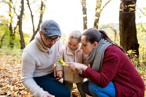 Beautiful young family on a walk in forest. Mother and father with their daughter in warm clothes outside in colorful autumn nature.