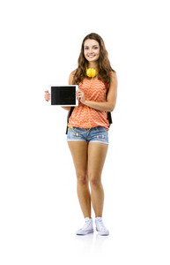 Beautiful young student girl with bag and digital tablet, isolated on white background