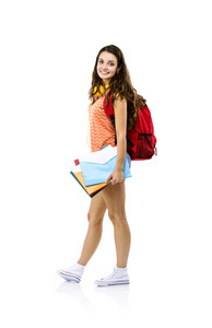 Beautiful young student girl with bag holding folders, isolated on white background