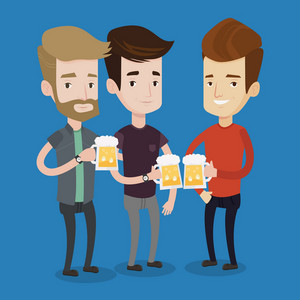 Beer fans toasting and clinking glasses of beer. Caucasian men clanging glasses of beer. Group of friends enjoying a beer at pub. Men drinking beer. Vector flat design illustration. Square layout.