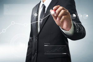Benchmarking and market leader concept. Manager (businessman, coach, leadership)